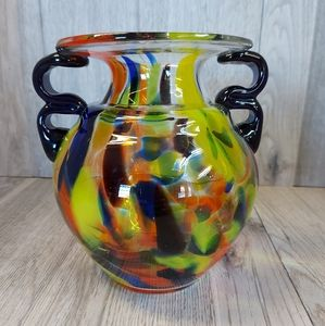 Beautiful Hand Crafted Blown Glass Vase/ Urn